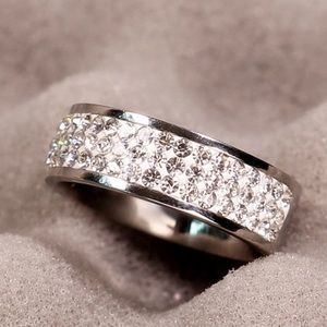 Stainless Steel & Crystal Ring